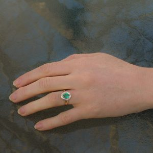 Natural Emerald and White Sapphire Handmade Ring