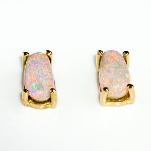 White Opal 18 Ct Gold Studs